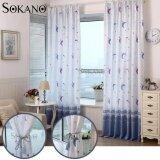 (RAYA 2019) SOKANO Curtain CT017 Premium Quality Moon Design Thick Curtain (2 Panels) 200cm x 270cm- Blue