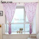 SOKANO CT008 Premium Quality Printed Curtain (2 Panels) 200cm x 200cm- Purple Butterfly Design