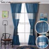 SOKANO CT018 Sheer Type Straps Design Curtain (2 Panels)- Blue Colour