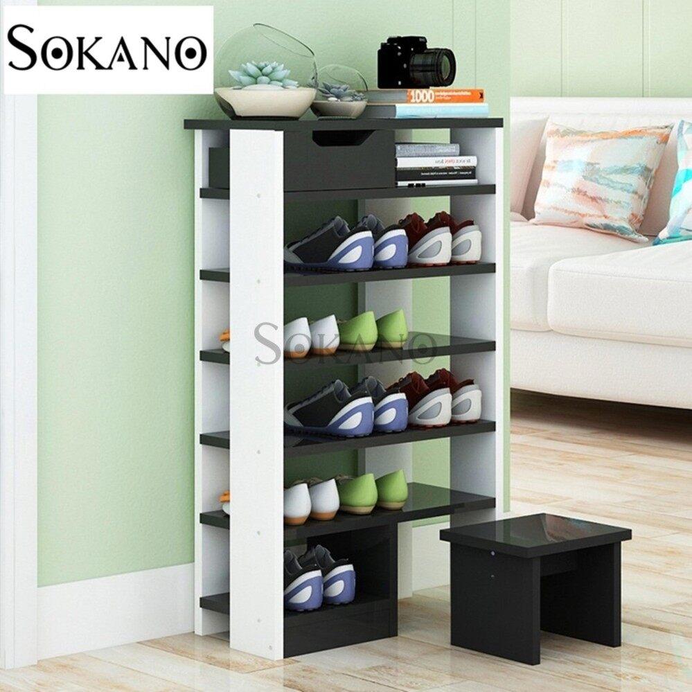 SOKANO D4209D 6 Tiers European Style Premium Wooden Shoe Cabinet With Stool- Black Mix White (41549B)