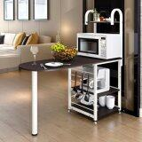 SOKANO D446 Dining Table with Attached Multipurpose Kitchen Dapur Shelf- Black (410720)