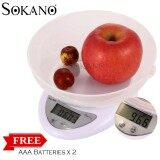 (RAYA 2019) SOKANO Electronic Kitchen Dapur Scale With Bowl (5kg/1gm)
