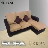 SOKANO GH966 L Shape 3 Seater Sofa with Portable Stool - Brown