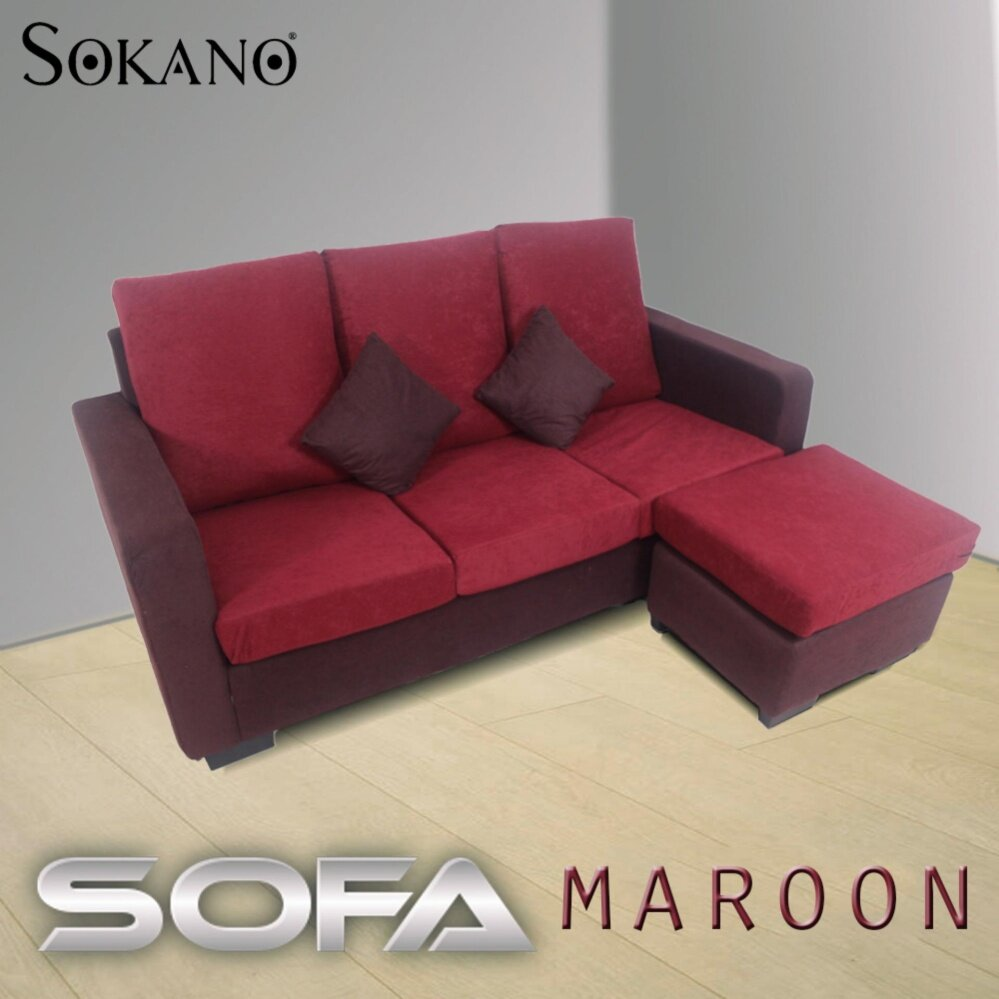 SOKANO GH966 L Shape 3 Seater Sofa with Portable Stool - Maroon