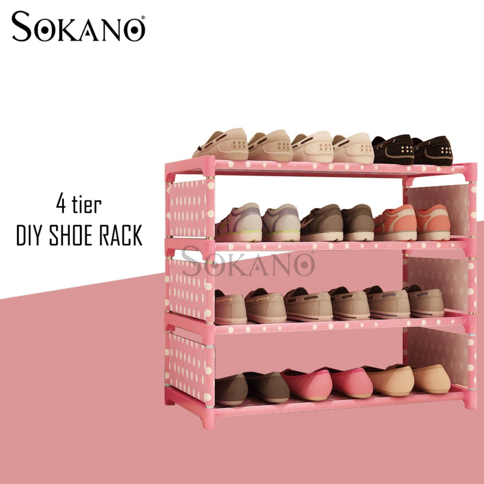 SOKANO Korean Premium Quality 4 Tier SK-4 DIY Shoe Rack - Pink Dot