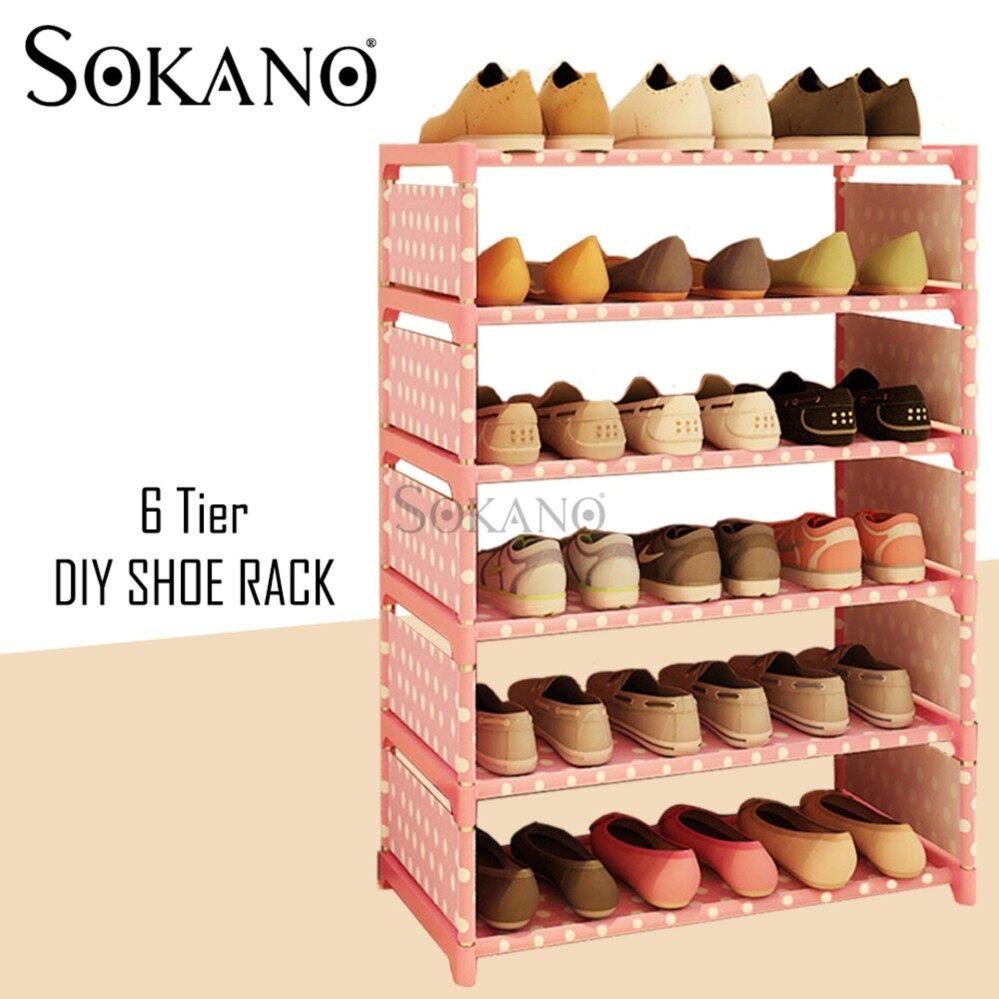 SOKANO Korean Premium Quality 6 Tier SK-6 DIY Shoe Rack - Pink Dot