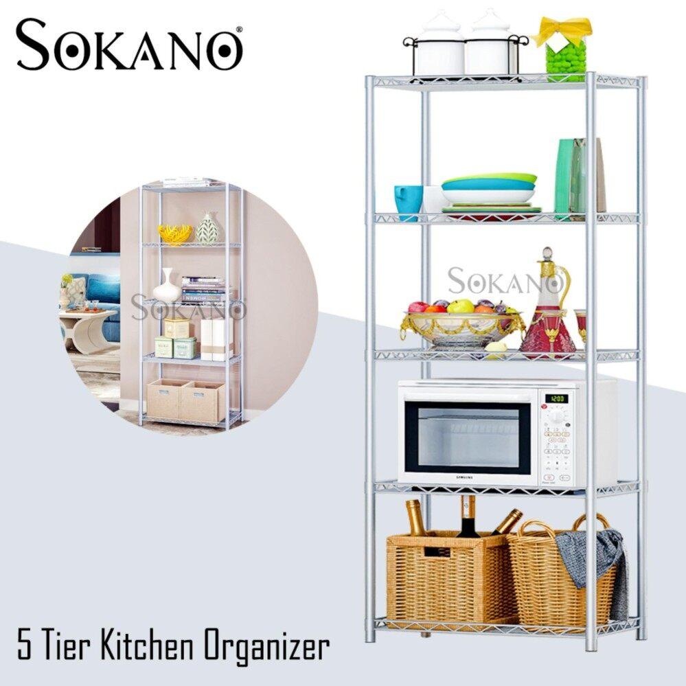 SOKANO KR005 5 Tier Kitchen Dapur Organizer Steel Rack