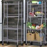 (RAYA 2019) SOKANO KR007 4 Tier Kitchen Dapur Organizer Basket Steel Rack with Wheels