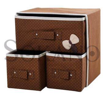 SOKANO Large Capacity 3 in 1 Drawer Style DIY Organizer Set- Brown