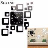 SOKANO M07 DIY 3D Acrylic Mirror Quartz Wall Clock Sticker Home Modern Decoration - Black
