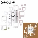 SOKANO M07 DIY 3D Acrylic Mirror Quartz Wall Clock Sticker Home Modern Decoration - Silver
