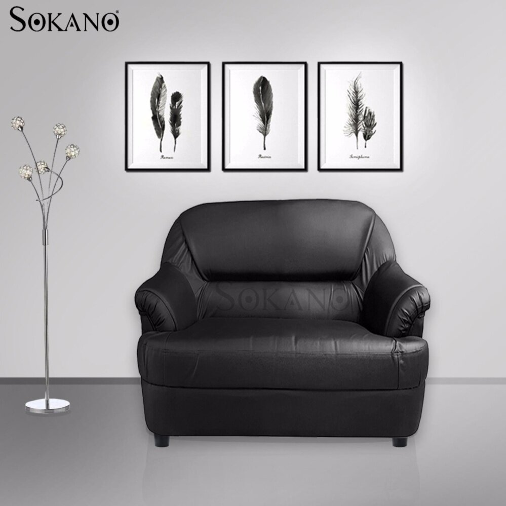 SOKANO MS247 PVC Leather Sofa - 1 seater (Black)