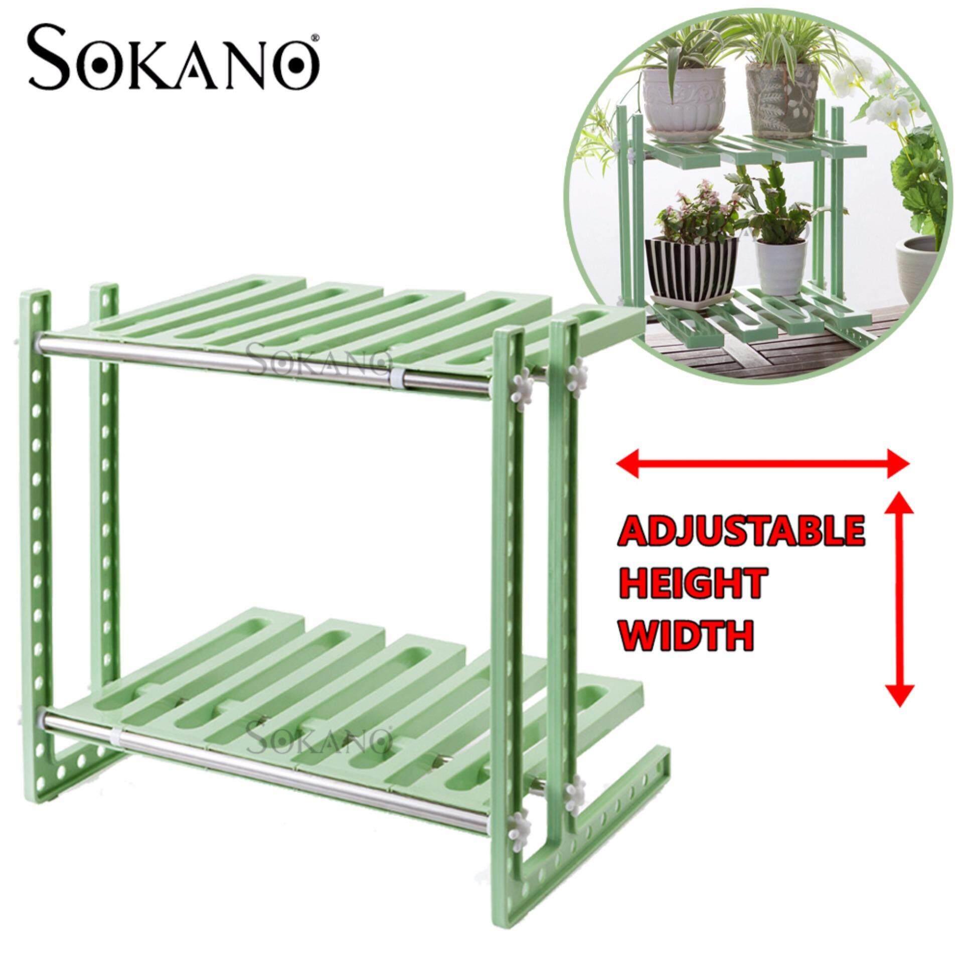 SOKANO New Generation Under Sink Kitchen Dapur Storage Mulitpurpose Organizer with Adjustable Length and Height - Green