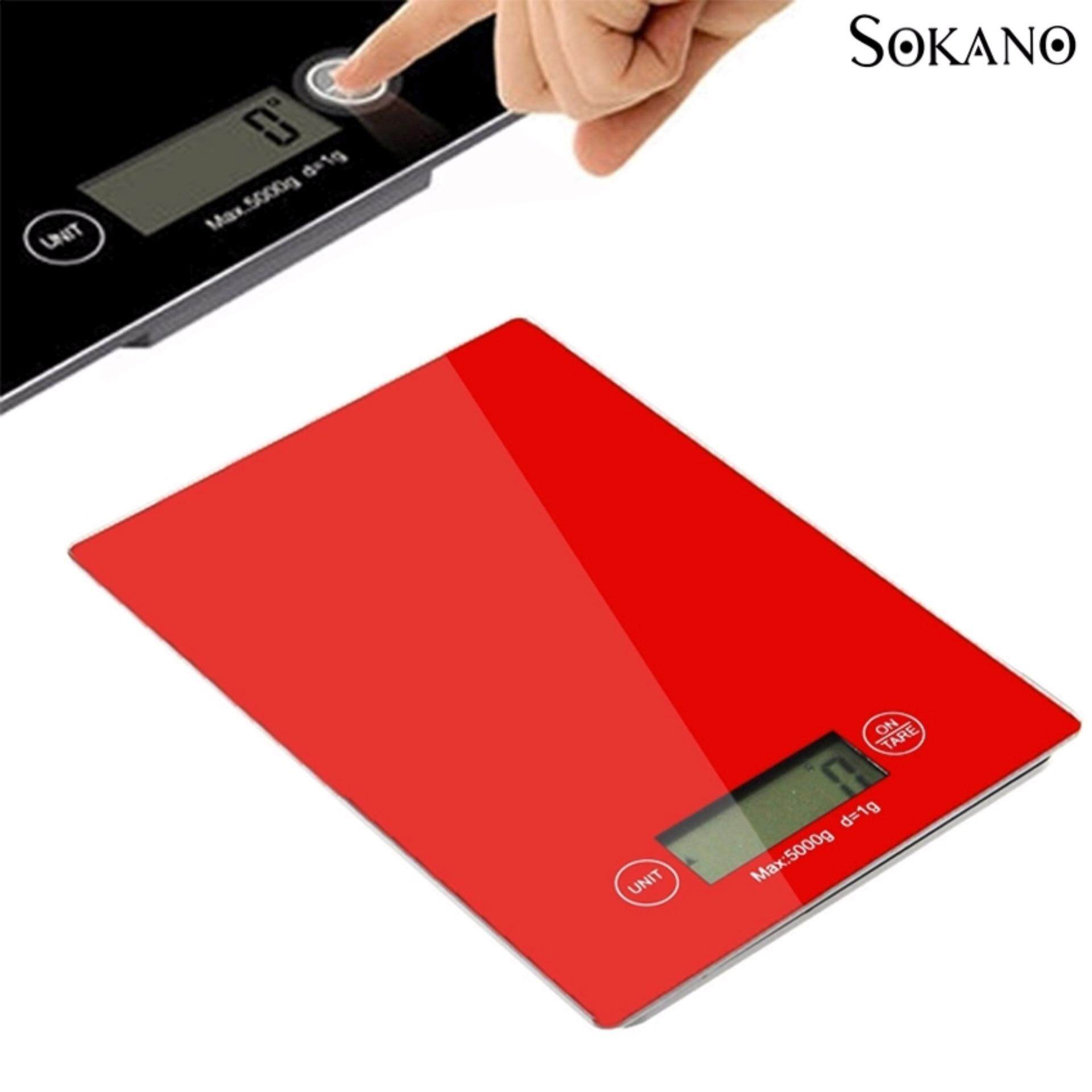 SOKANO Precise Electronic Tempered Glass Kitchen Dapur Scale with Touch Button and LCD Display- Red