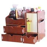 (RAYA 2019) SOKANO Premium DIY Wooden Cosmetic and Table Organizer With Mirror and Drawers- Brown