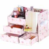 SOKANO Premium DIY Wooden Cosmetic and Table Organizer With Mirror and Drawers- Floral Design