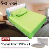 (RAYA 2019) Sokano SB007 Full Cotton (500 TC) Luxury Series 4 in 1 Bedsheet - Green (Free 1 Pillow)