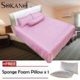 (RAYA 2019) Sokano SB007 Full Cotton (500 TC) Luxury Series 4 in 1 Bedsheet - Pink (Free 1 Pillow)