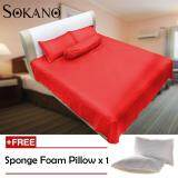 (RAYA 2019) Sokano SB007 Full Cotton (500 TC) Luxury Series 4 in 1 Bedsheet -  Red (Free 1 Pillow)