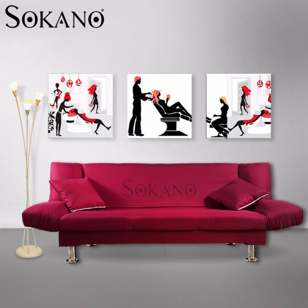 SOKANO SF004 Premium 3 Seaters Foldable Canvas Sofa Bed come with FREE 2 Pillows (180cm) - Red