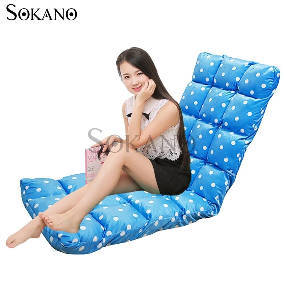 SOKANO SF005 XL Size Foldable Sofa Futon(147cm)- Blue Dots