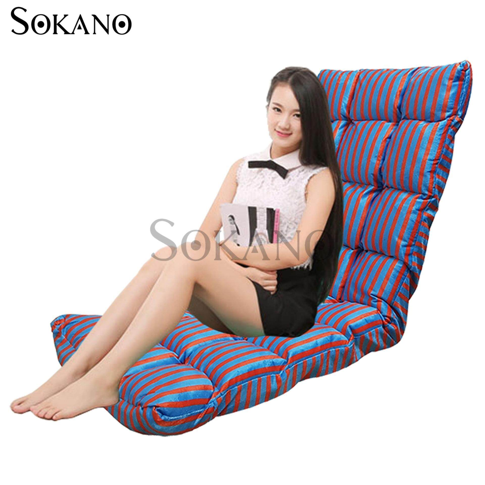 SOKANO SF005 XL Size Foldable Sofa Futon(147cm)- Blue Orange Strips