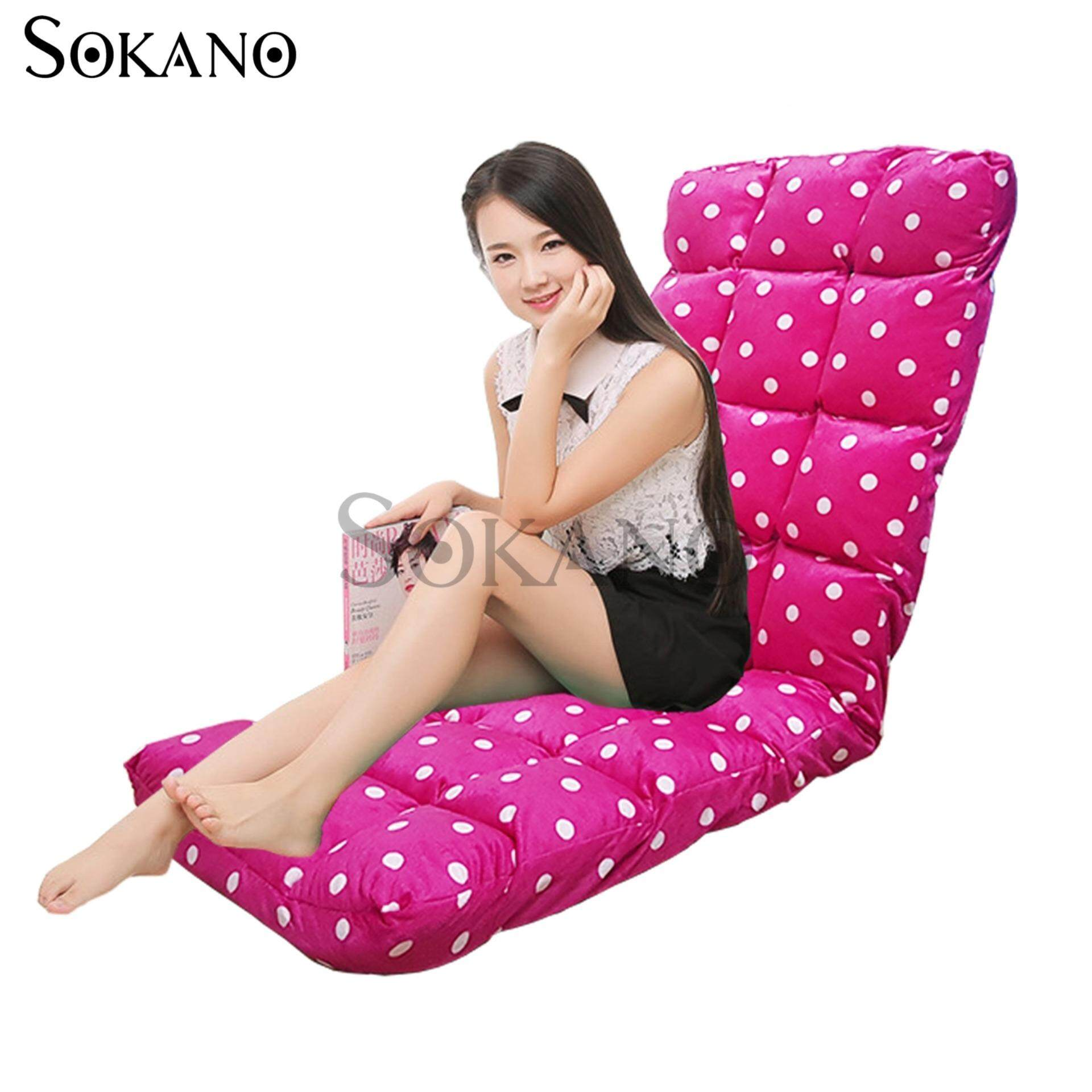 SOKANO SF005 XL Size Foldable Sofa Futon(147cm)- Pink Dot