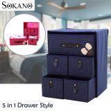 (RAYA 2019) SOKANO SO001 Large Capacity 5 in 1 Drawer Style DIY Organizer Set - Dark Blue