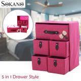 (RAYA 2019) SOKANO SO001 Large Capacity 5 in 1 Drawer Style DIY Organizer Set - Rose Red