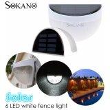 (RAYA 2019) SOKANO Waterproof Outdoor Solar Powered 6 Led Wall Light Fence Stair Garden Light Sensor Lamp (White)
