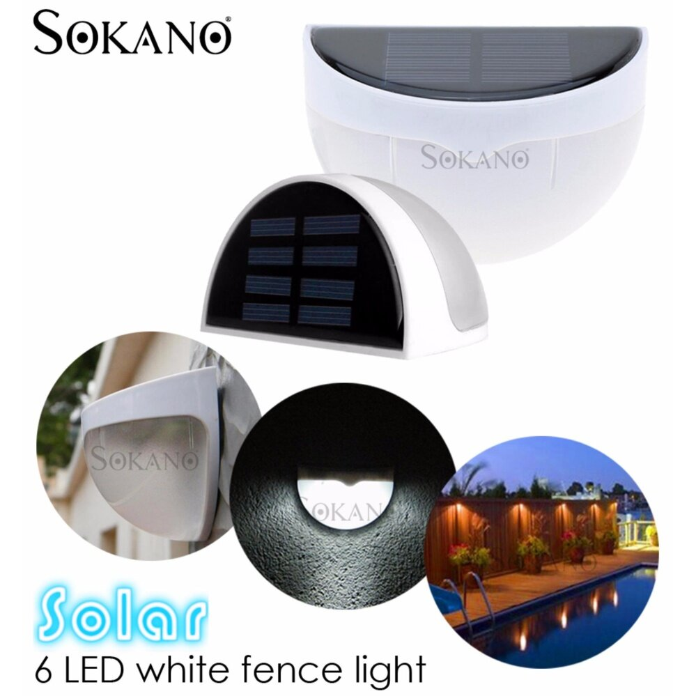 SOKANO Waterproof Outdoor Solar Powered 6 Led Wall Light Fence Stair Garden Light Sensor Lamp (White)