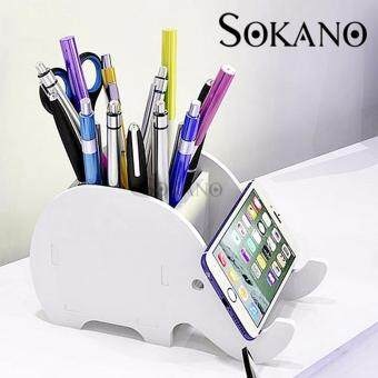 SOKANO Wooden DIY Table Organizer and Smart Phone Holder- Elephnant