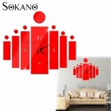 SOKANO ZB2020 DIY 3D Acrylic Mirror Quartz Wall Clock Sticker Home Modern Decoration - Red