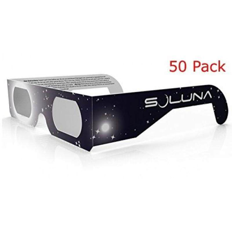 Solar Eclipse Glasses - CE and ISO Certified Safe Shades for Direct Sun Viewing - Made in the USA (50 Pack) by Soluna
