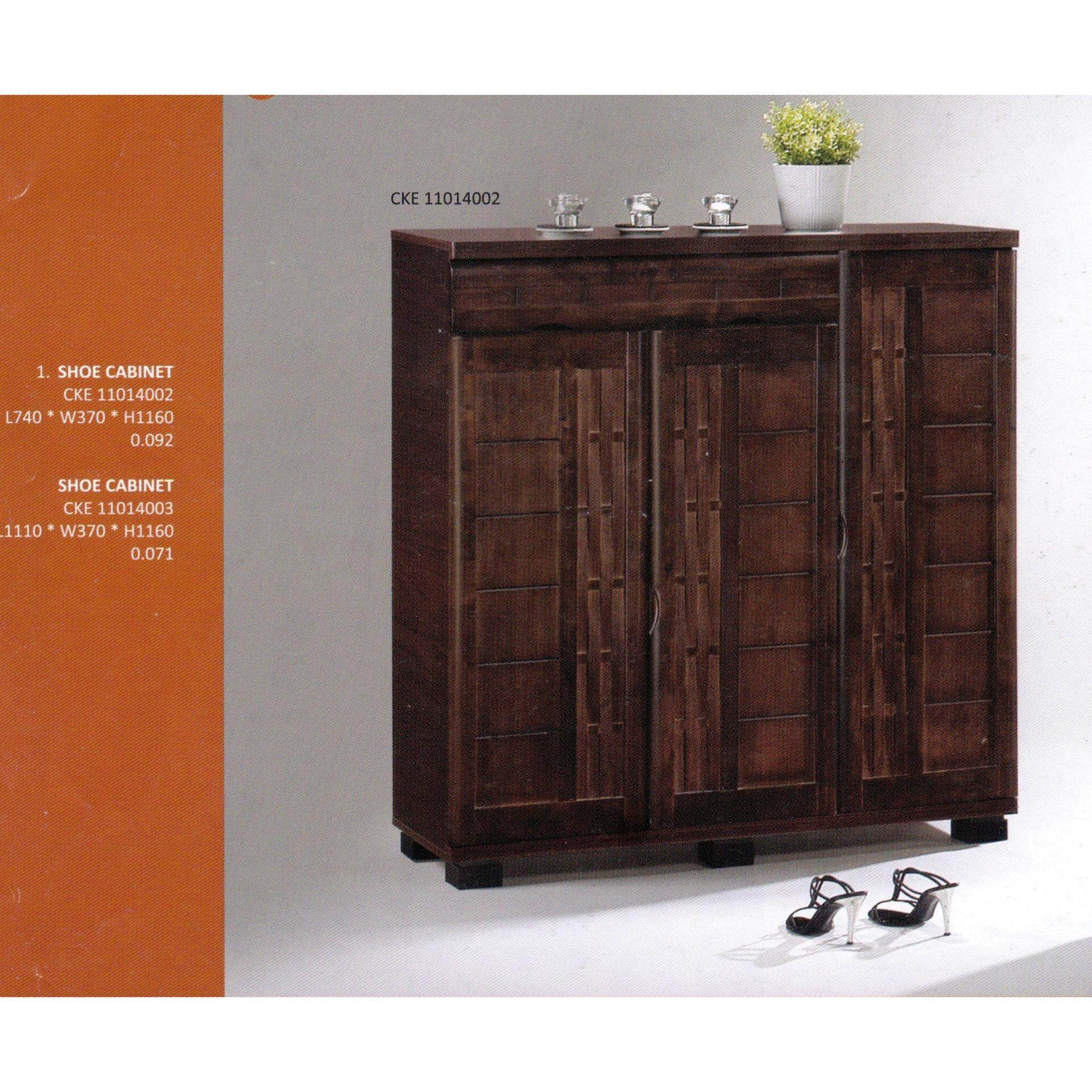 Solid 3 Door 5 Layer Solid Shoes Cabinet Wood (Brown Color) L1110MM X W370MM X H1160MM