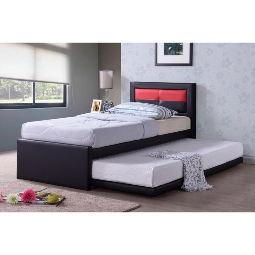 Solid Cushion Leather Single Divan Bed With Pull-Out Bed Chi...