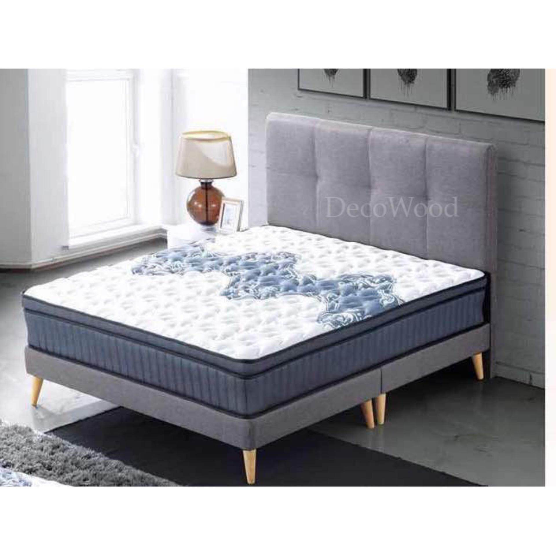 Solid Fabric Queen Size Divan Bed With 11 Inches Mattress Qu...