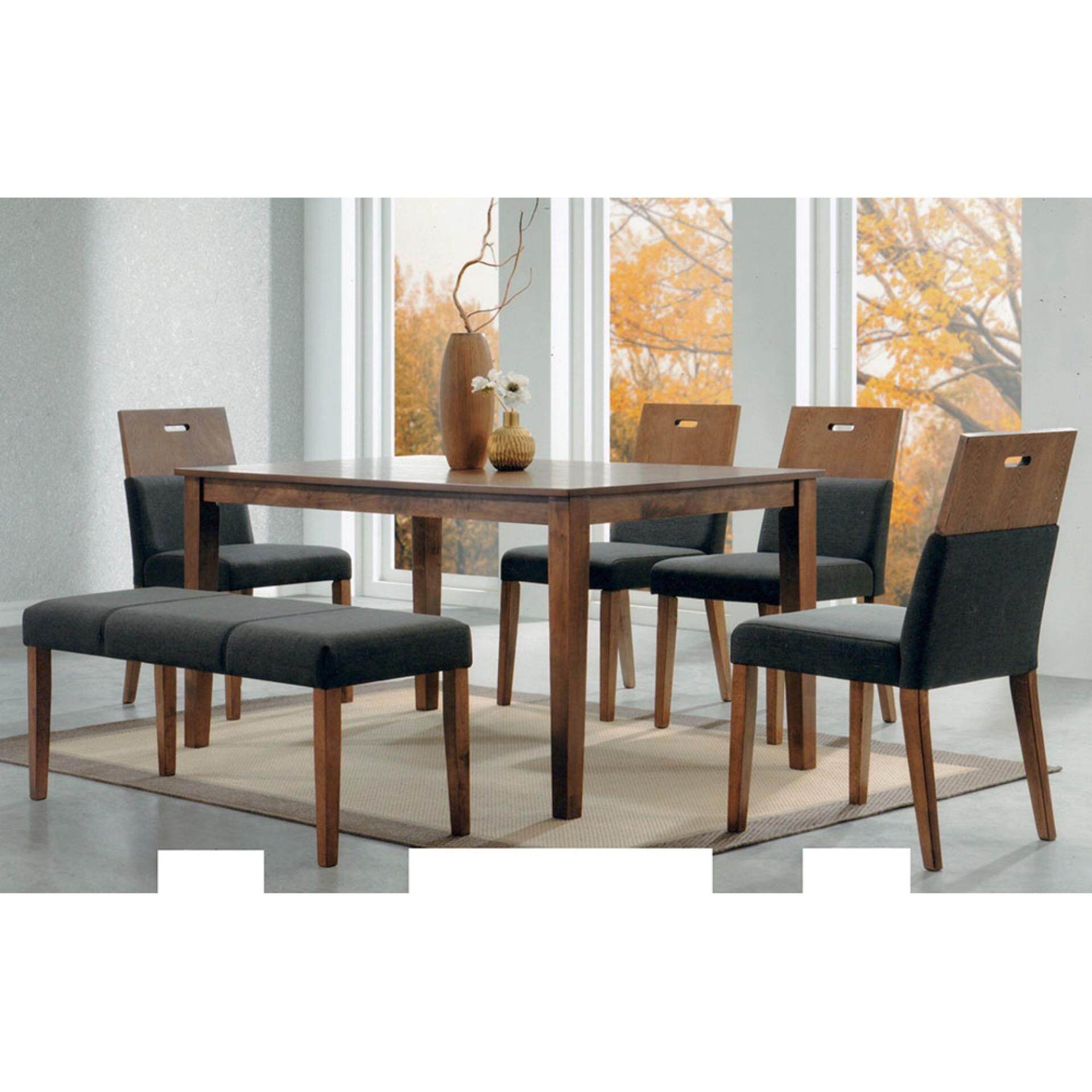Solid Wood 1+5 Dining Table Cushion Chair Dining Set With Long Stool (Brown) L1800MM X W900MM X H750MM Pre Order 2 Week