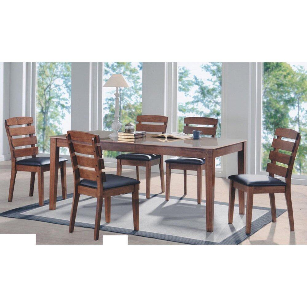 Solid Wood 1+6 Dining Table Cushion Chair Set (Brown) L1800MM X W900MM X H750MM