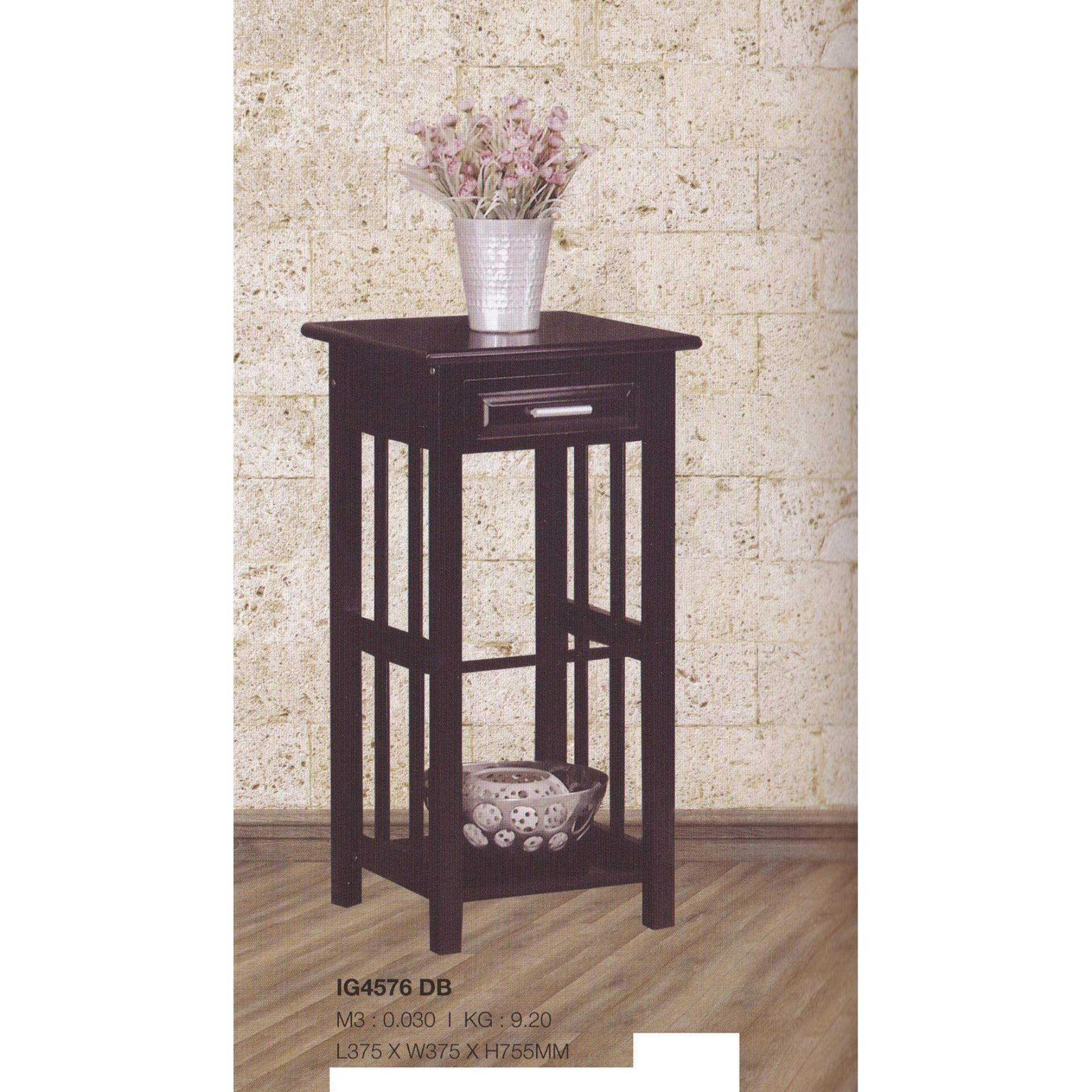 Solid Wood Side Table (Dark Brown Color) L375MM X W375MM X H755MM