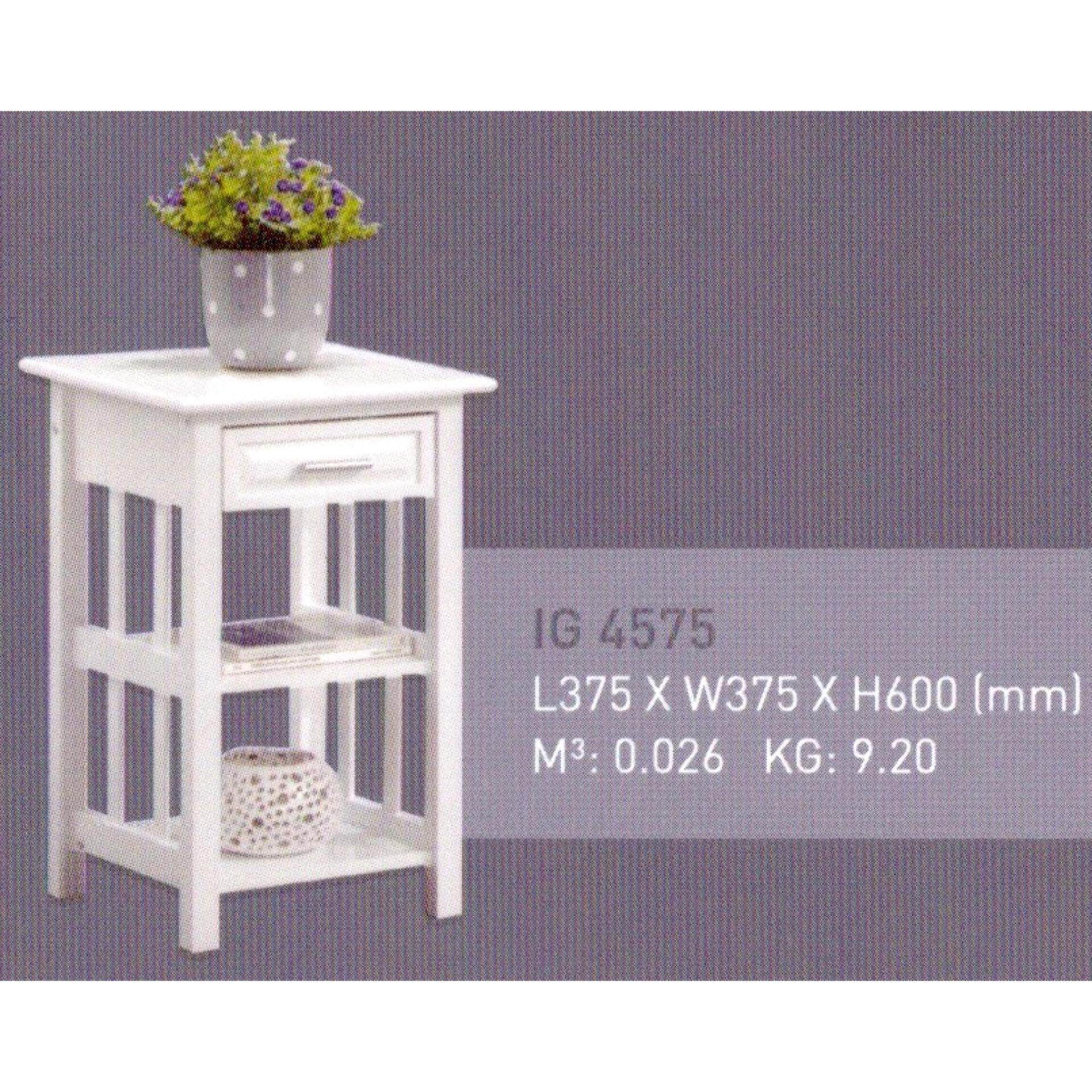 Solid Wood Side Table (White Color) L375MM X W375MM X H600MM