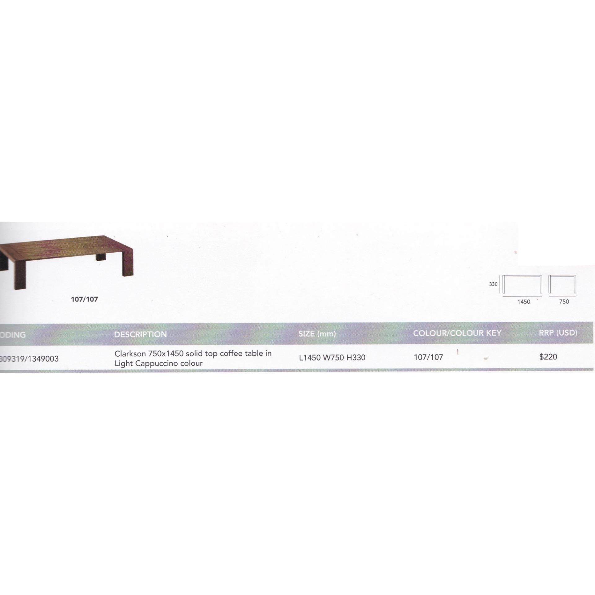 Solid Wood Strong Coffee Table L1450MM X W750MM X H330MM (Brown Color)