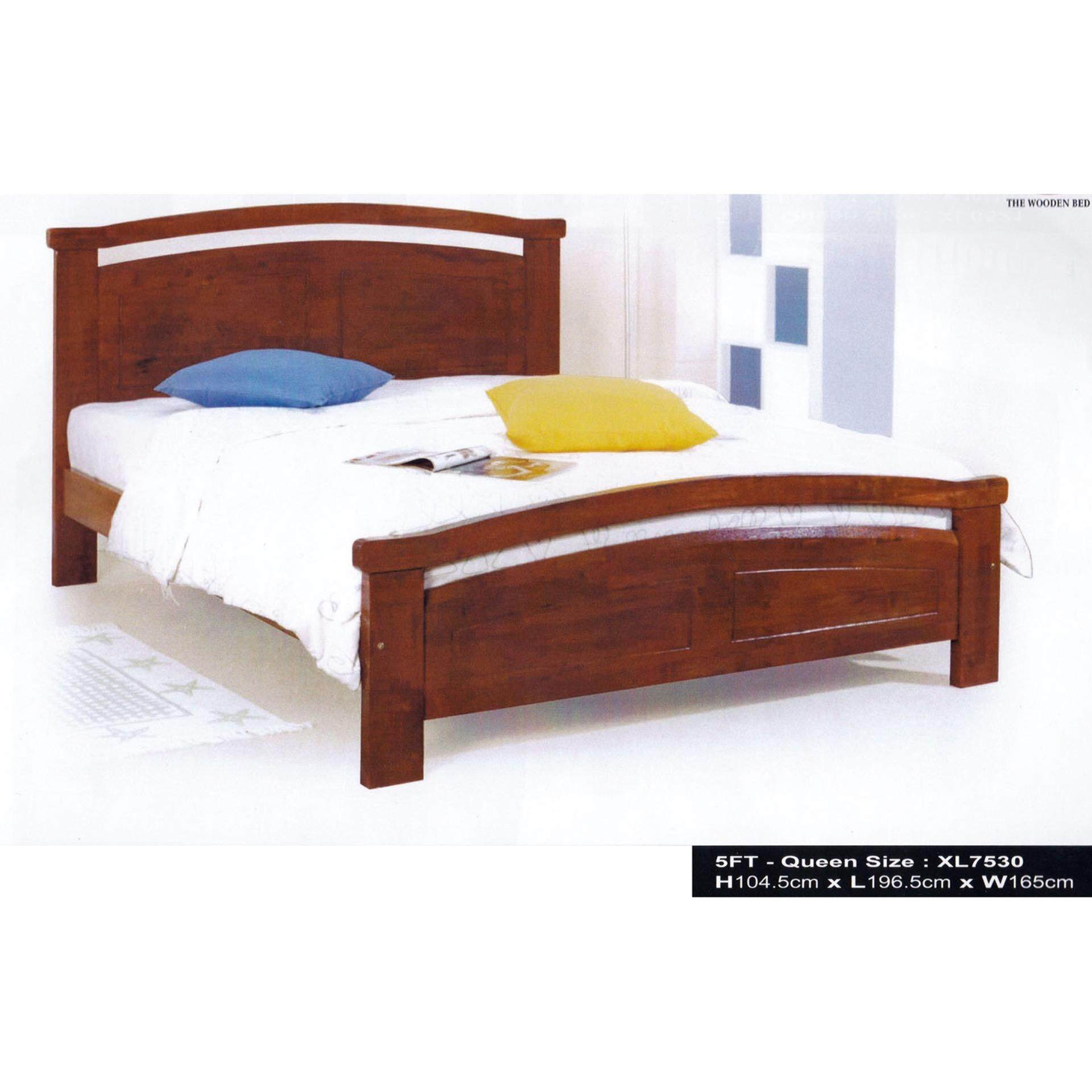 Solid Wood Strong Queen Wooden Bed XL7530 (Oak) L1980MM X W165MM X H1045MM