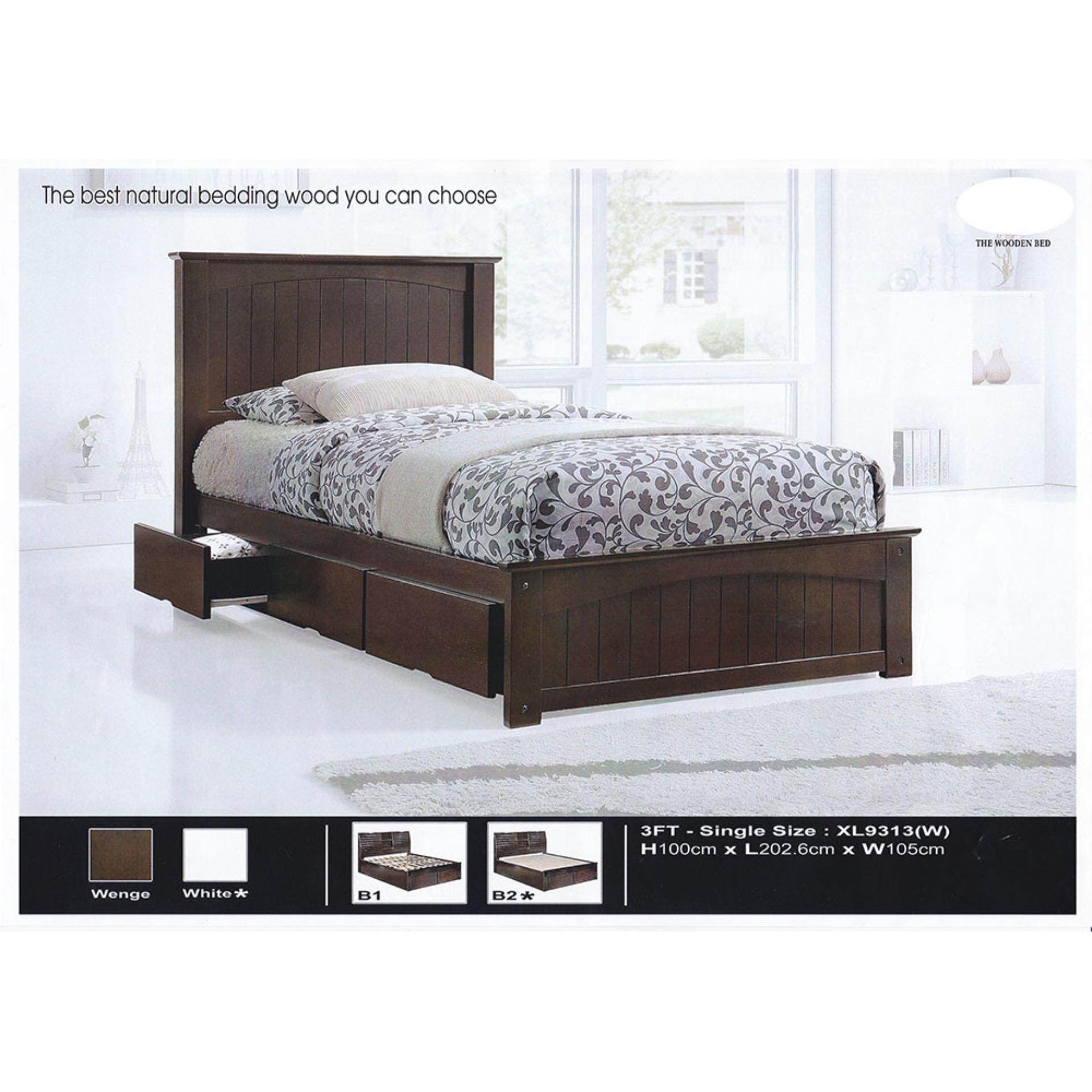Solid Wood Strong Single Size Wooden Bed With Drawers L2026MM X W105MM X H1000MM Pre-Order 2 Week