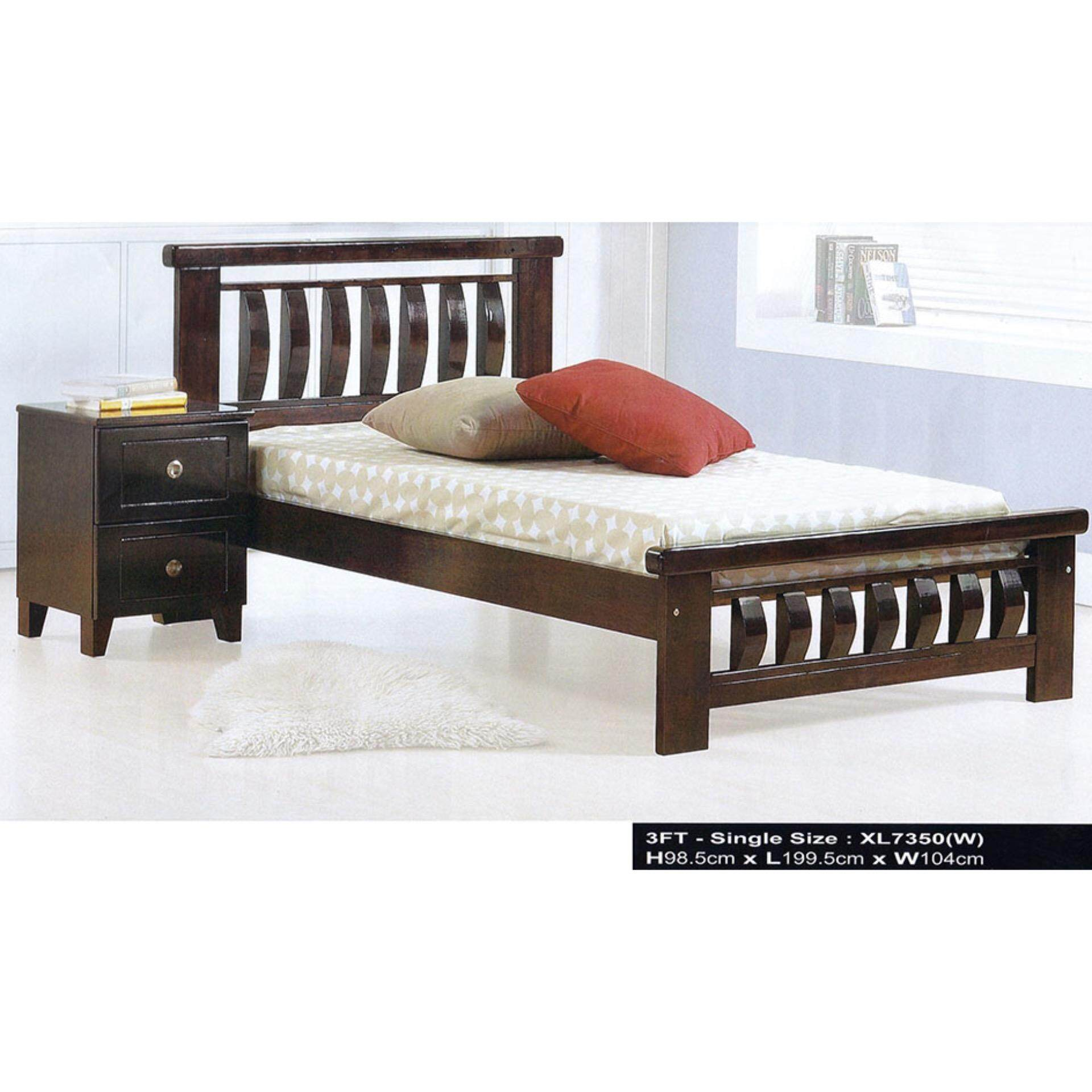 Solid Wood Strong Single Wooden Bed XL3332 (Oak) L1975MM X W1020MM X H1000MM