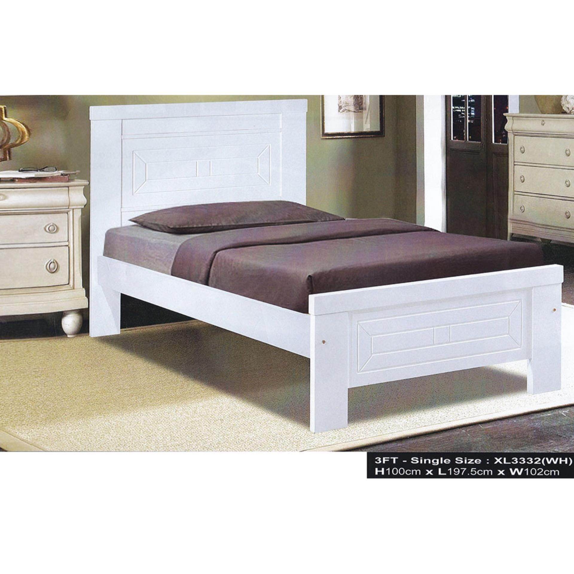 Solid Wood Strong Single Wooden Bed XL3332 (White) L1975MM X W1020MM X H1000MM