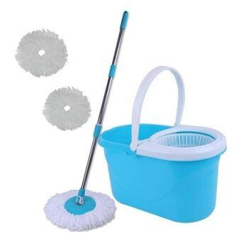 Harga Spin Mop Magic Mop + Cleaner Bucket + 2 Mop Heads (Blue)