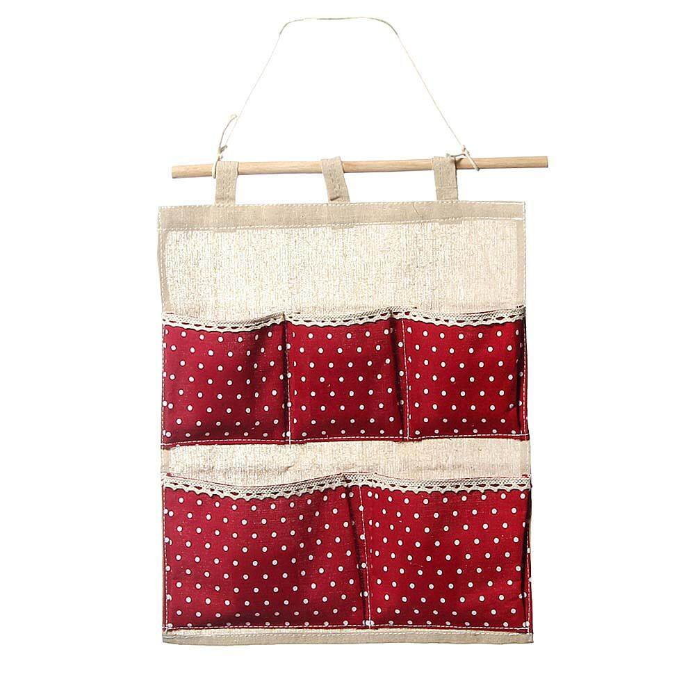 Storage Bag 5 Pocket Wall Hanging Bag Multi-layer Fabric Pastoral Style RD - intl