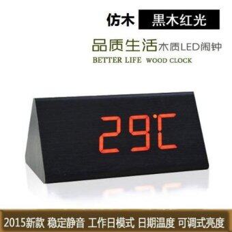 T128 Triangle LED Wooden Look Alarm Digital Desk Clock - 3