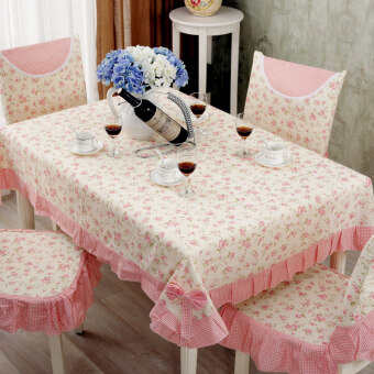 Tablecloth fabric pastoral table cloth cushion dining chair setslace tablecloth chair cushion coffee table tablecloth suit